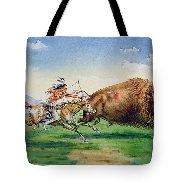 Sioux Hunting Buffalo On Decorated Pony Tote Bag by American School
