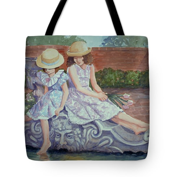 Sisters At The Fountain Tote Bag