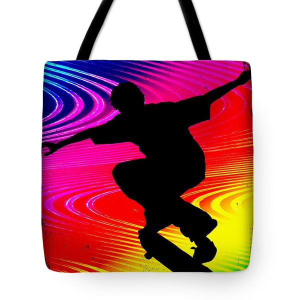 Skateboarding On Rainbow Grunge Background Tote Bag by Elaine Plesser