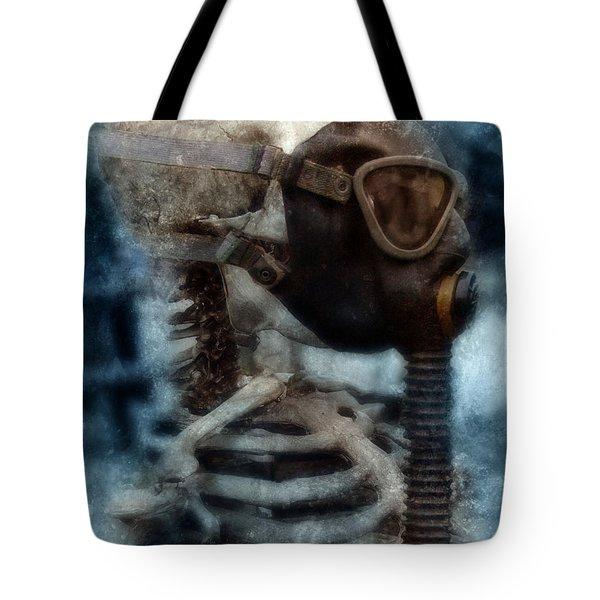 Skeleton In Gas Mask Tote Bag by Jill Battaglia