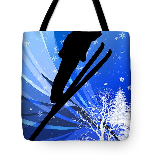 Ski Jumping In The Snow Tote Bag by Elaine Plesser