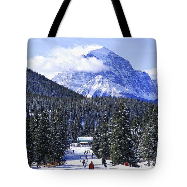 Skiing In Mountains Tote Bag by Elena Elisseeva
