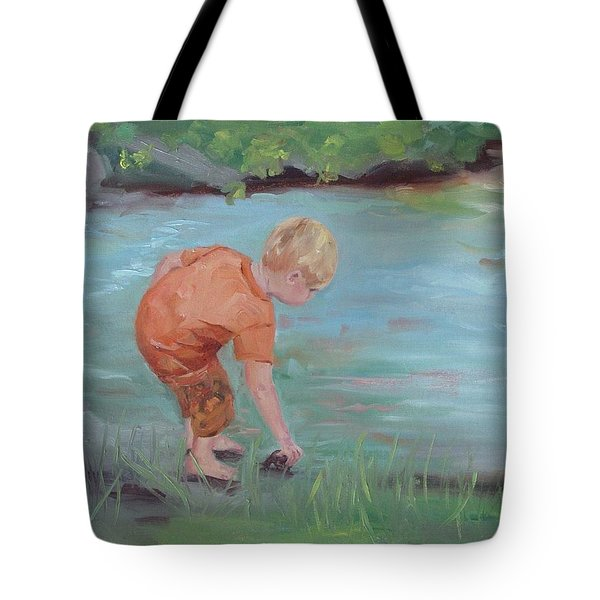 Tote Bag featuring the painting Skipping Stones by Carol Berning
