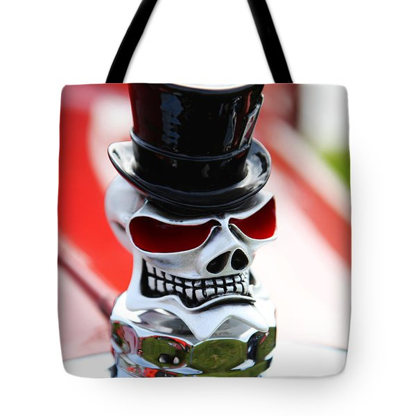 Skull With Top Hat Hood Ornament Tote Bag by Garry Gay