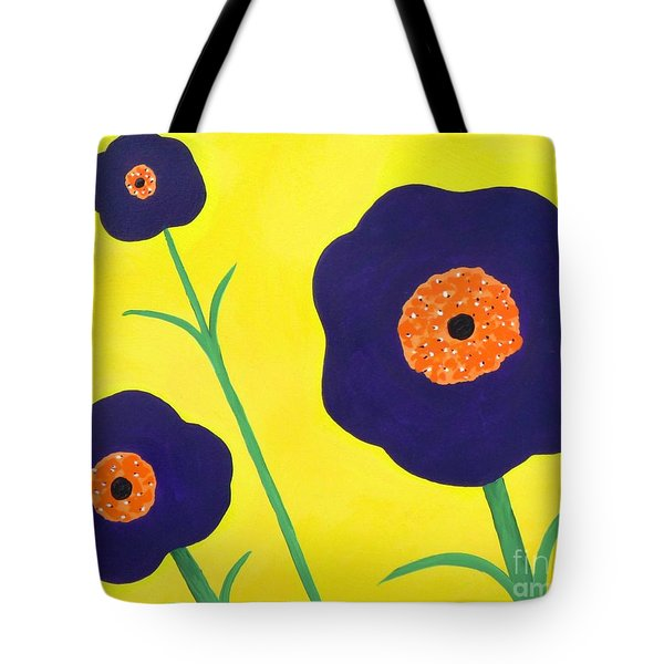 Tote Bag featuring the painting Sky High Flowers by Alys Caviness-Gober