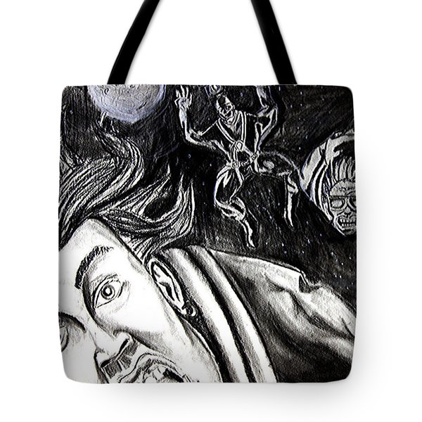 Tote Bag featuring the drawing Skydiving Saturday Night  by eVol  i