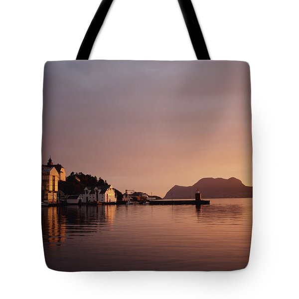 Skyline Of Town At Dusk Tote Bag by Axiom Photographic