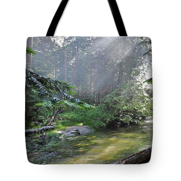 Tote Bag featuring the photograph Slanting Sunlight On River by Kirsten Giving