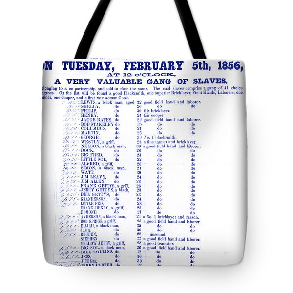 Slave Auction Notice Tote Bag by Photo Researchers, Inc.