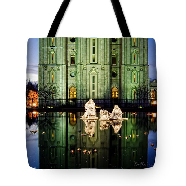 Slc Temple Nativity Tote Bag by La Rae  Roberts