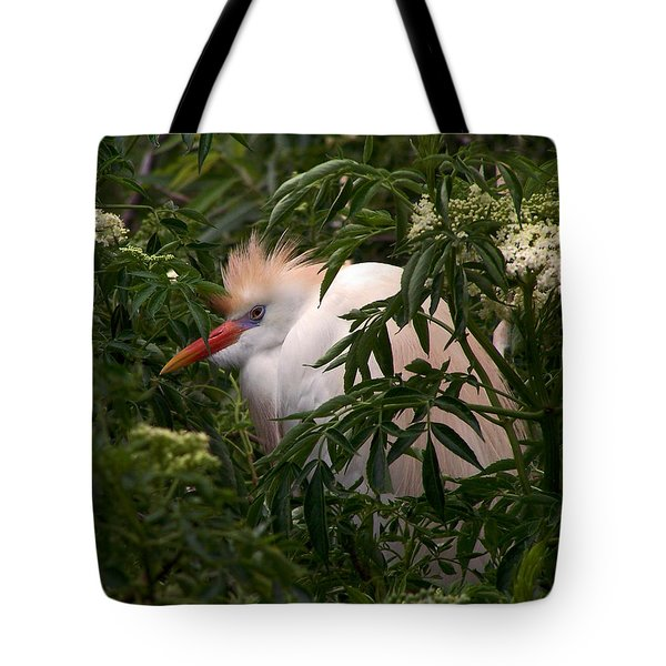 Sleepy Egret In Elderberry Tote Bag