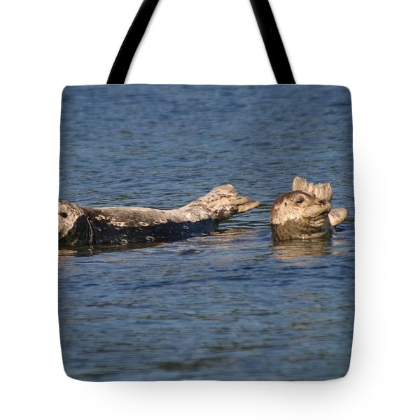 Smiling Seals Of Puget Sound Tote Bag by Kym Backland