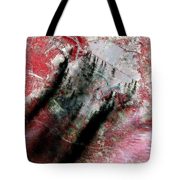 Smoke Plumes Over Baghdad, Iraq Tote Bag by NASA / Science Source