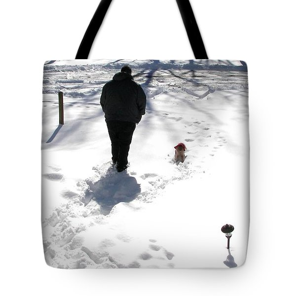 Tote Bag featuring the photograph Snow Buddies by Pamela Hyde Wilson