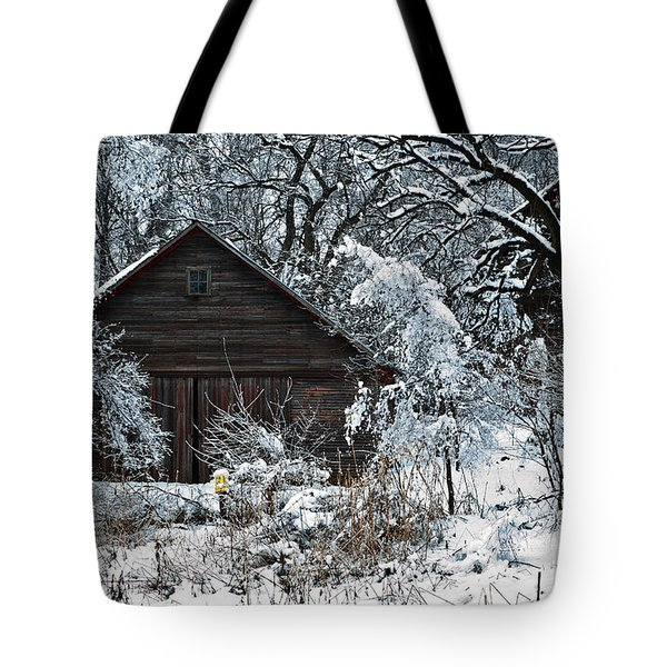 Snow Covered Barn Tote Bag