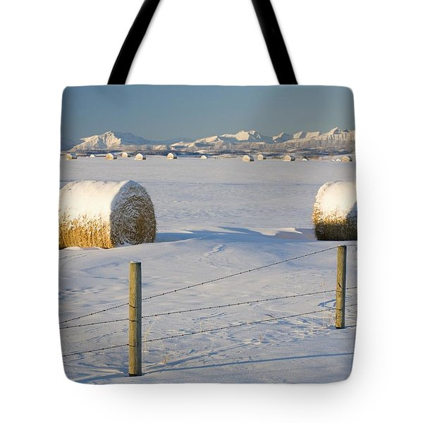 Snow Covered Hay Bales In A Snow Tote Bag by Michael Interisano