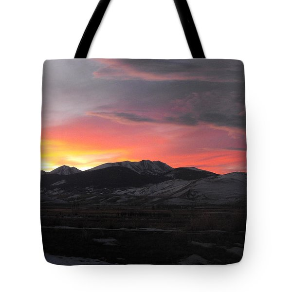 Snow Covered Mountain Sunset Tote Bag