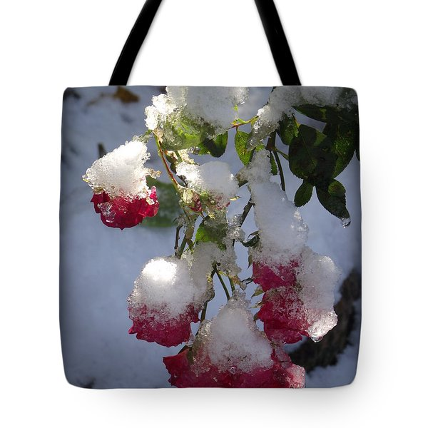 Snow Covered Roses Tote Bag