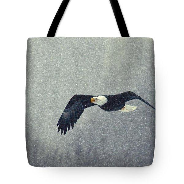 Snow Flight Tote Bag by Myrna Bradshaw