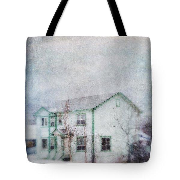 Snow Flurry 'round My Neighbor's House Tote Bag by Priska Wettstein