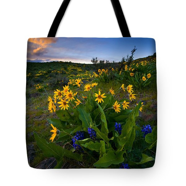 Snow Mountain Sunset Tote Bag by Mike  Dawson