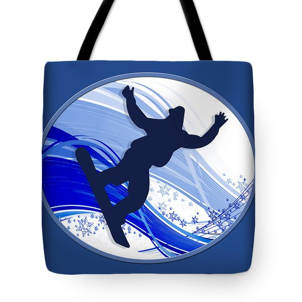 Snowboarding And Snowflakes Tote Bag by Elaine Plesser