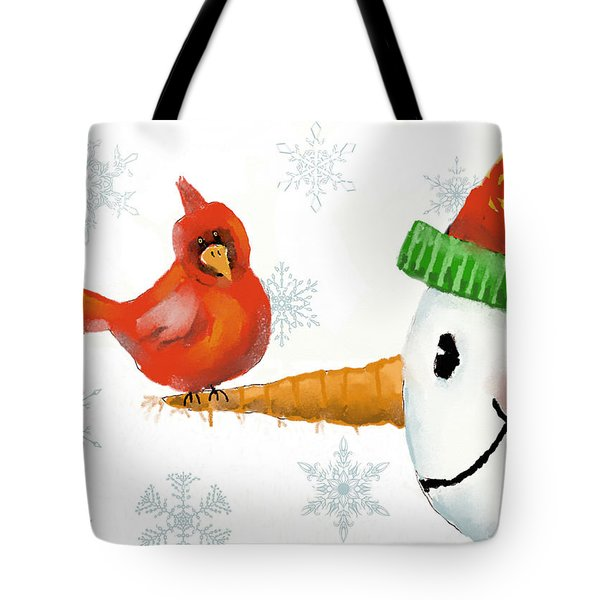 Tote Bag featuring the digital art Snowman And The Cardinal by Arline Wagner