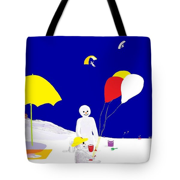 Tote Bag featuring the digital art Snowman Family Holiday by Barbara Moignard