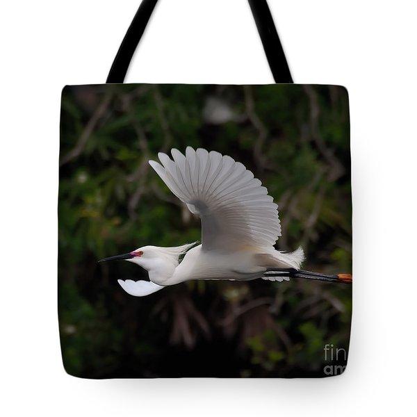 Snowy Egret In Flight Tote Bag by Art Whitton