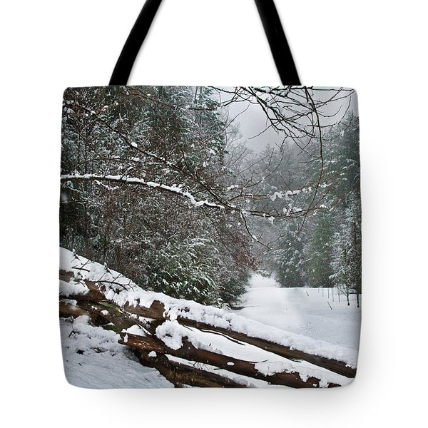 Snowy Fence Tote Bag by Debra and Dave Vanderlaan