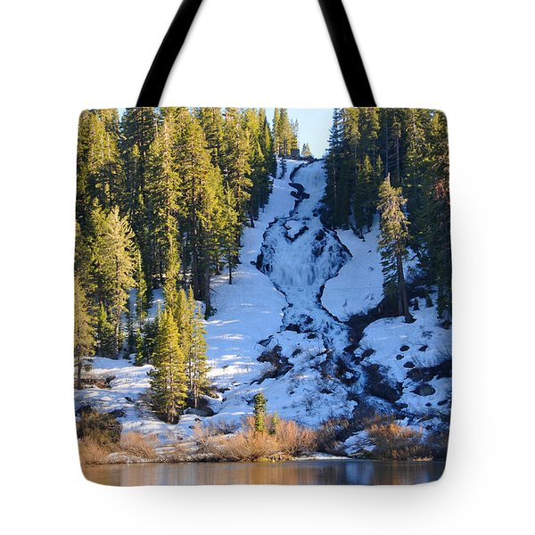 Tote Bag featuring the photograph Snowy Heart Falls by Lynn Bauer