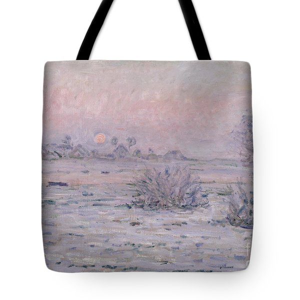 Snowy Landscape At Twilight Tote Bag by Claude Monet