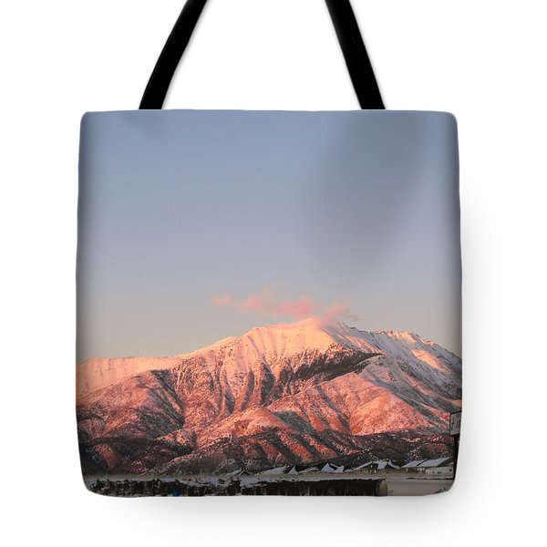 Snowy Mountain At Sunset Tote Bag