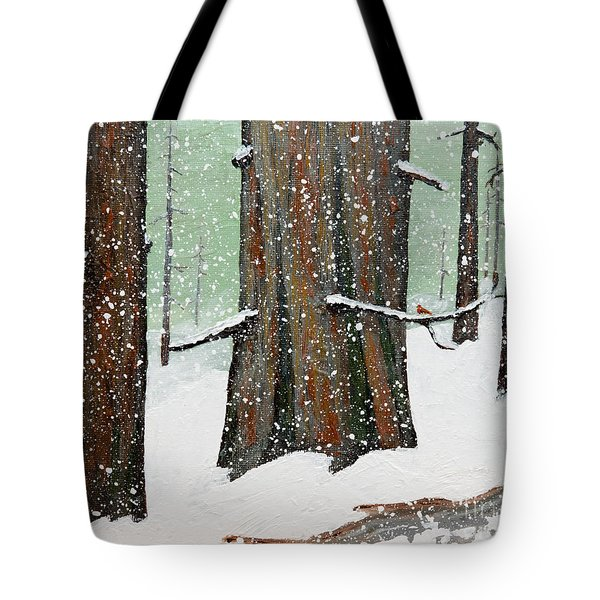 Snowy Redwood Tote Bag
