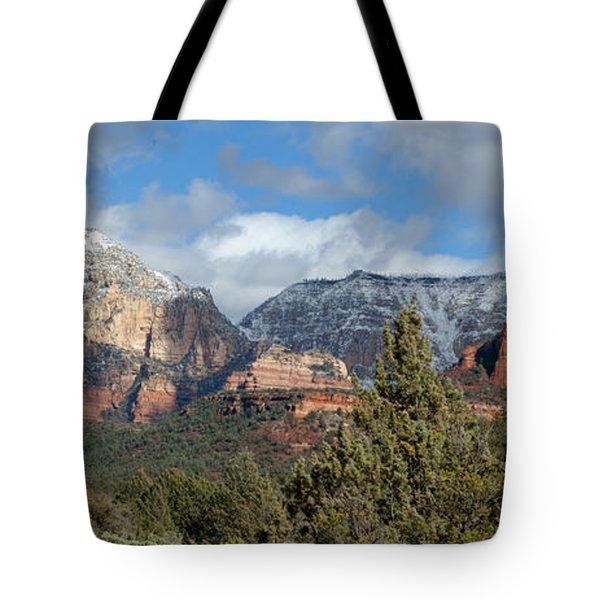 Snowy Sedona Afternoon Tote Bag by Sandra Bronstein