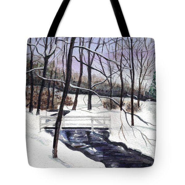 Snowy Shawnee Stream Tote Bag