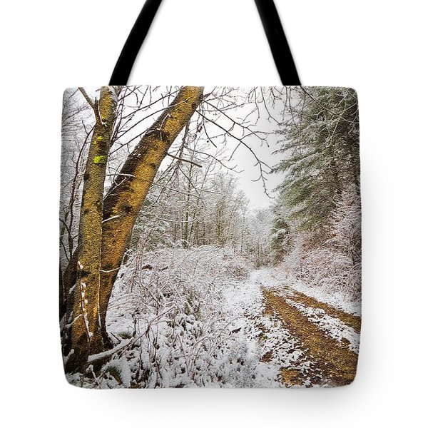 Snowy Watercolor Tote Bag by Debra and Dave Vanderlaan