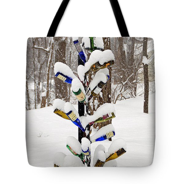 Snowy Wine Bottle Sculpture Tote Bag by Aimee L Maher Photography and Art Visit ALMGallerydotcom
