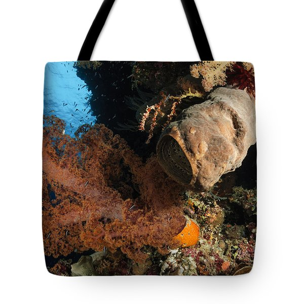 Soft Coral Seascape, Indonesia Tote Bag by Todd Winner