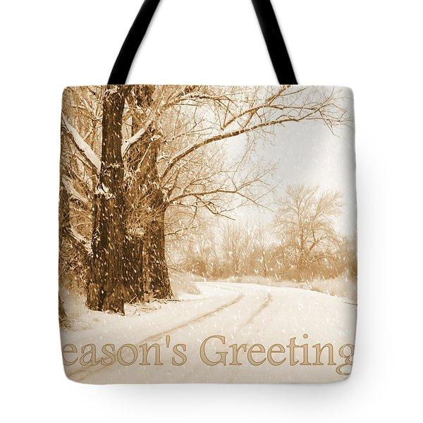 Soft Sepia Season's Greetings Card Tote Bag by Carol Groenen