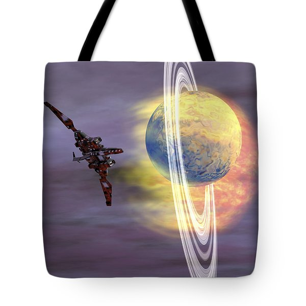 Solar Winds Hit A Ringed Planet Tote Bag by Corey Ford