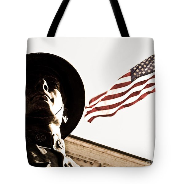 Soldier And Flag Tote Bag by Syed Aqueel