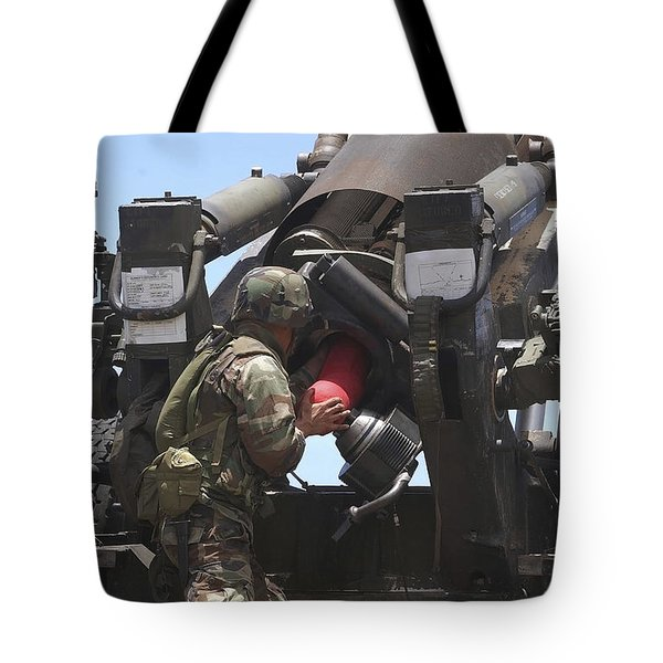 Soldier Loads A Charge Round Tote Bag by Stocktrek Images