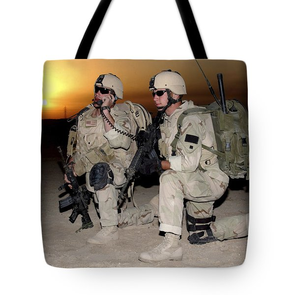 Soldiers Call In Air Support Tote Bag by Stocktrek Images