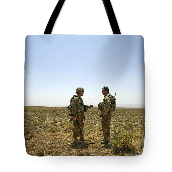 Soldiers Discuss, Drop Zone Tote Bag by Stocktrek Images