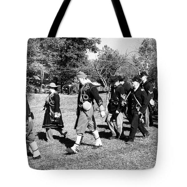 Soldiers March Black And White IIi Tote Bag by LeeAnn McLaneGoetz McLaneGoetzStudioLLCcom