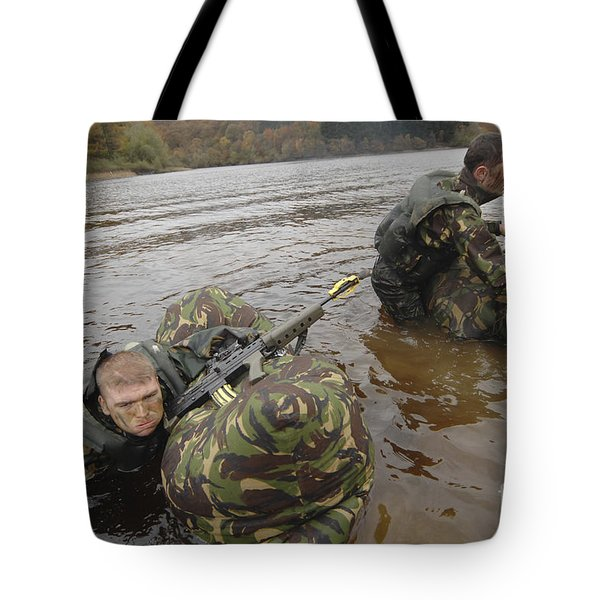 Soldiers Participate In A River Tote Bag by Andrew Chittock