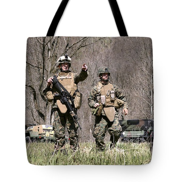 Soldiers Perform A Site Survey In Camp Tote Bag by Stocktrek Images