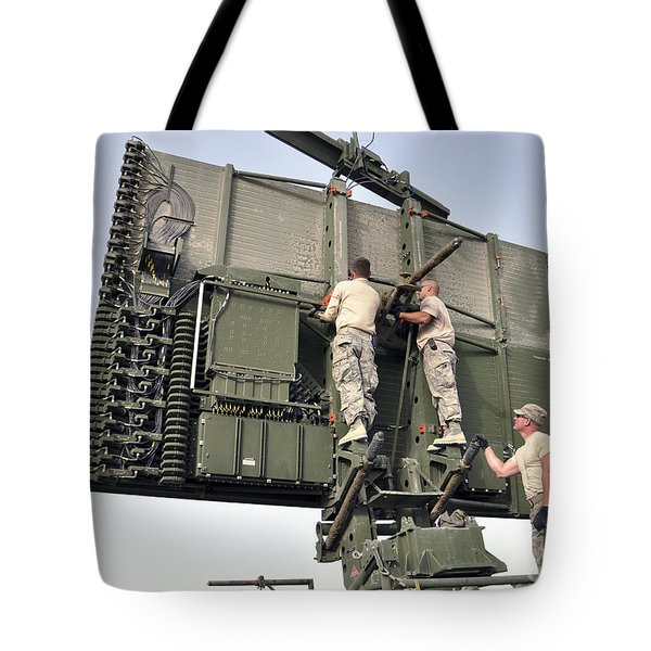 Soldiers Set Up A Tps-75 Radar Tote Bag by Stocktrek Images