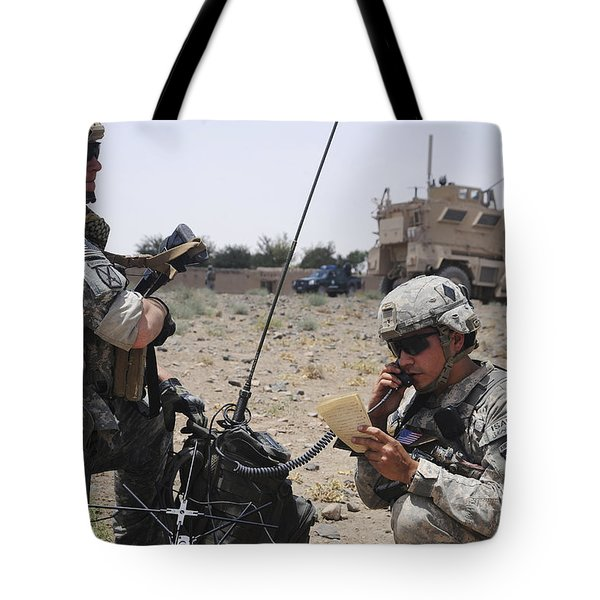 Soldiers Setting Up A Satellite Tote Bag by Stocktrek Images